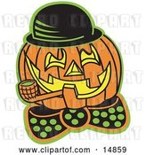Vector Clip Art of Retro Carved Jack O Lantern Wearing a Hat and Bowtie and Grinning While Smoking a Pipe by Andy Nortnik