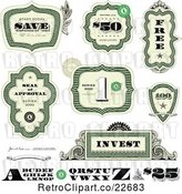 Vector Clip Art of Retro Cash Money and Certificate Design Elements by BestVector
