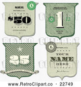 Vector Clip Art of Retro Cash Money Styled Shield Designs by BestVector