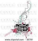 Vector Clip Art of Retro Cassette Tape on Abstract Designs by BNP Design Studio