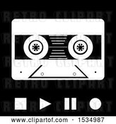 Vector Clip Art of Retro Cassette Tape with Stop Play Pause and Record Buttons in by Elaineitalia