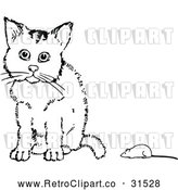Vector Clip Art of Retro Cat and Toy Mouse by Prawny Vintage