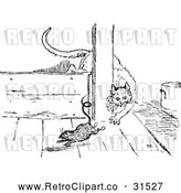 Vector Clip Art of Retro Cat Hunting a Rat 1 by Prawny Vintage