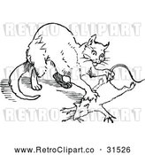 Vector Clip Art of Retro Cat Hunting a Rat 2 by Prawny Vintage