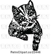 Vector Clip Art of Retro Cat Looking over a Surface by Prawny Vintage