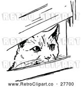 Vector Clip Art of Retro Cat Peeking Through Boards by Prawny Vintage
