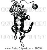 Vector Clip Art of Retro Cat Playing with Yarn by Prawny Vintage
