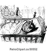 Vector Clip Art of Retro Cat Sleeping in a Cradle by Prawny Vintage