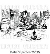 Vector Clip Art of Retro Cat Watching a Guy Light Explosives by Prawny Vintage