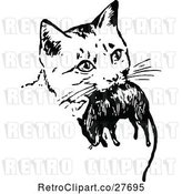 Vector Clip Art of Retro Cat with a Mouse by Prawny Vintage