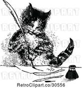 Vector Clip Art of Retro Cat Writing a Letter by Prawny Vintage