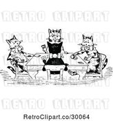 Vector Clip Art of Retro Cats Playing Cards by Prawny Vintage
