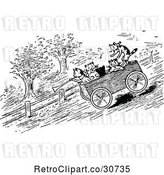 Vector Clip Art of Retro Cats Riding a Cart Downhill by Prawny Vintage