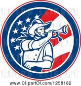 Vector Clip Art of Retro Cavalry Soldier Blowing a Bugle in an American Flag Circle by Patrimonio