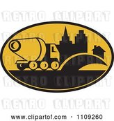 Vector Clip Art of Retro Cement Truck and Building in an Oval by Patrimonio