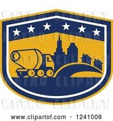 Vector Clip Art of Retro Cement Truck and City in a Shield by Patrimonio