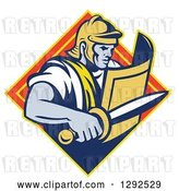 Vector Clip Art of Retro Centurian Roman Soldier Emerging from a Yellow and Orange Diamond by Patrimonio