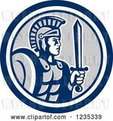 Vector Clip Art of Retro Centurian Roman Soldier in a Blue White and Gray Circle by Patrimonio