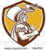 Vector Clip Art of Retro Centurion Roman Soldier Carrying a Flag in a Brown White and Yellow Shield by Patrimonio