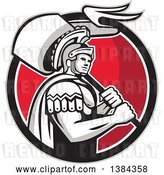 Vector Clip Art of Retro Centurion Roman Soldier Carrying a Flag in a Gray Black White and Red Circle by Patrimonio