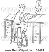 Vector Clip Art of Retro Chained Office Worker Man Watching a Lady Walk by Black and White by Picsburg