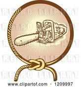 Vector Clip Art of Retro Chainsaw in a Lasso Ray Circle by Patrimonio