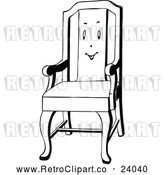 Vector Clip Art of Retro Chair with a Face by Prawny Vintage