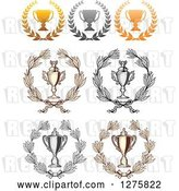 Vector Clip Art of Retro Championship Trophy Cups in Wreaths by Vector Tradition SM