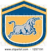 Vector Clip Art of Retro Charging Bull in a Blue White and Yellow Shield by Patrimonio