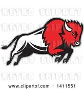 Vector Clip Art of Retro Charging Red, Buffalo Charging, with a Gray Outline by Patrimonio
