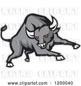 Vector Clip Art of Retro Charging Red Eyed Angry Gray Bull by Patrimonio