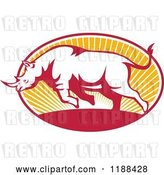 Vector Clip Art of Retro Charging Rhino over an Oval of Sun Rays by Patrimonio