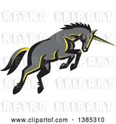Vector Clip Art of Retro Charging Unicorn by Patrimonio