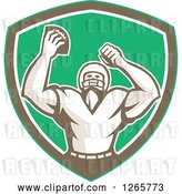 Vector Clip Art of Retro Cheering American Football Player in a Green Brown and White Shield by Patrimonio