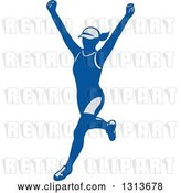 Vector Clip Art of Retro Cheering Female Marathon Runner in Gray and Blue by Patrimonio