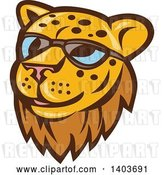 Vector Clip Art of Retro Cheetah or Leopard Face Wearing Sunglasses by Patrimonio