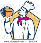Vector Clip Art of Retro Chef Baker Holding a Pot over a Hexagon of Rays by Patrimonio