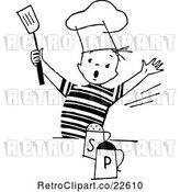 Vector Clip Art of Retro Chef Boy with Salt and Pepper by BestVector