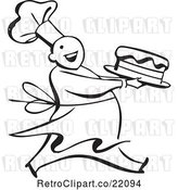 Vector Clip Art of Retro Chef Carrying a Cake by BestVector