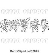 Vector Clip Art of Retro Chef Cherubs Marching with Kitchen Items by Picsburg
