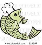 Vector Clip Art of Retro Chef Fish Logo by Patrimonio