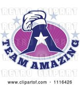 Vector Clip Art of Retro Chef Hat on a Letter a with Team Amazing Text and Purple Rays and Stars by Patrimonio