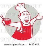 Vector Clip Art of Retro Chef Holding a Bowl of Hot Noodle Soup and Cheering, Welcoming or Dancing in a Gray Circle by Patrimonio