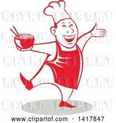 Vector Clip Art of Retro Chef Holding a Bowl of Hot Noodle Soup and Dancing by Patrimonio