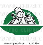 Vector Clip Art of Retro Chef Holding a Bowl of Hot Noodle Soup over Green by Patrimonio