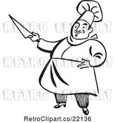 Vector Clip Art of Retro Chef Holding a Knife by BestVector