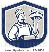 Vector Clip Art of Retro Chef Holding a Pie in a Shield by Patrimonio