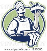 Vector Clip Art of Retro Chef Holding a Pie over a Rolling Pin in a Green Oval by Patrimonio