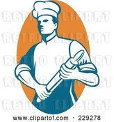 Vector Clip Art of Retro Chef Holding a Rolling Pin over an Orange Oval by Patrimonio