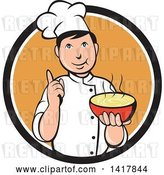 Vector Clip Art of Retro Chef Holding up a Finger and a Bowl of Hot Noodle Soup by Patrimonio